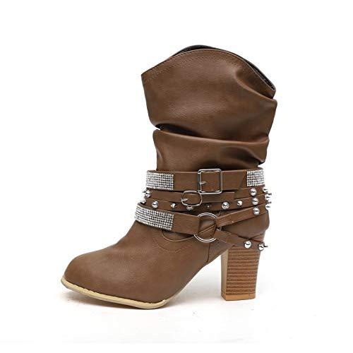 AXHSYZM Boots for Women Autumn Winter Fashion Platform Chunky Heels Retro Round Toe Rhinestone Belt Buckle Leather Boots,Dark Brown,36