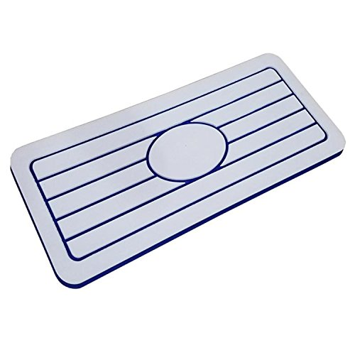 Mariner Watersports Helm Pads for Boats | Non Slip Standing 1 Inch Thick Boat Cushions, Anti Fatigue, Adhesive EVA Foam Backing, Firm Shock Absorbing Flooring Boat Mat, White/Blue, 30 inches
