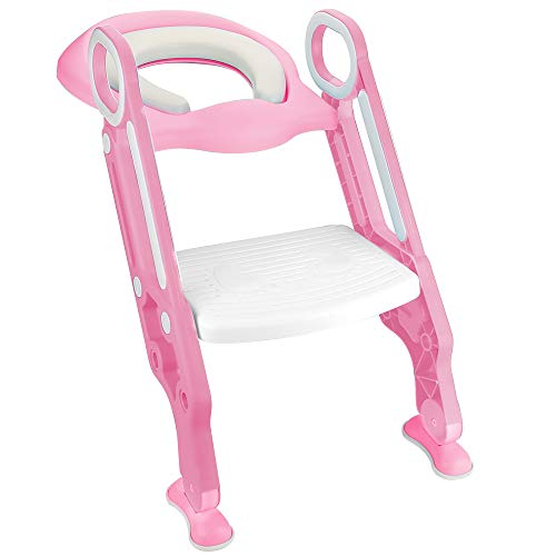 Luchild Potty Trainer Seat Adjustable Baby Potty Toilet Ladder Seat with Step Stool Ladder for Todderls Baby- Pink