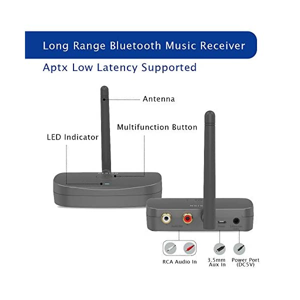 Bluetooth Audio Adapter, HiFi Wireless Music Reciver, Bluetooth 5.0 Receiver for Wired Speakers or Home Music Streaming Stereo System 4