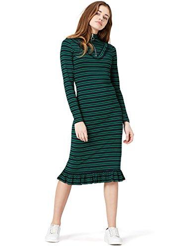 Amazon-Marke: find. Damen Kleid Gestreift mit Tunnelkragen, Mehrfarbig (Blue/green), 36, Label: S