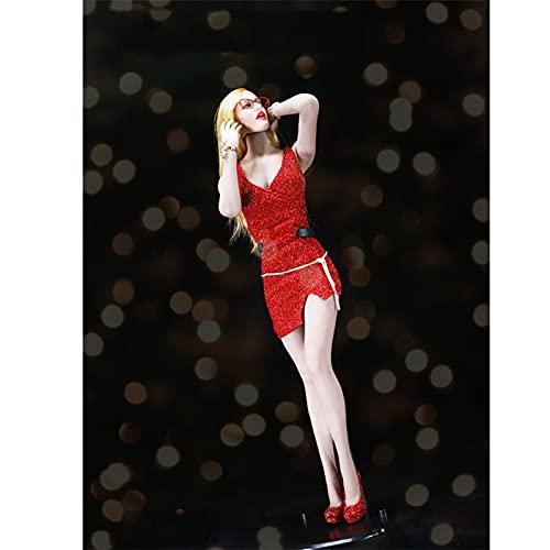 QQAA Juego de ropa a escala de 1/6 para figura de acción de 12 pulgadas, ropa de muñeca hecha a mano, figura femenina, accesorios para 12 mujeres, cuerpo sin costuras, realista, rojo -B