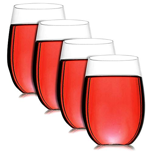 Pukkr Paquete de 4 copas de vino irrompibles | Plástico reutilizable | A prueba de golpes, perfecto para fiestas y campismo | Plástico Tritan