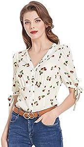 Ropa de los años 50 para Mujer Cerezas de Manga Corta Camisas Estampadas Blusas Marfil BPS02126-1_S
