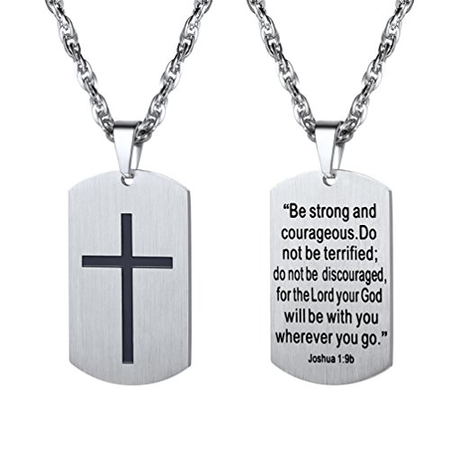 PROSTEEL Cross Jewelry Men Women Necklaces Pendants Military Dog Tag,Dogtag Stainless Steel Chain Bible Inspirational Mens Dogtag Necklaces
