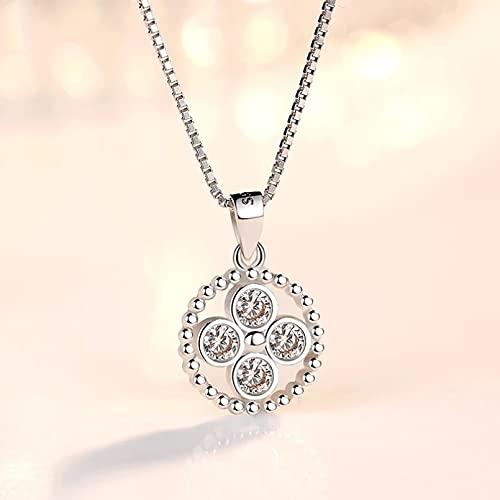 QiuYueShangMao Collar Colgante Joyas para Mujer Retro Simple Cristal Redondo Circón Colgante Collar Largo Novia, Esposa, Hija, Madre