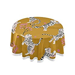 Quality Material: 100% Polyester waterproof and spillproof fabric, Durable,Soft, Stain Resistant,Shrink-resistant and Easy cleaning. Hidden Zipper:This zippered tablecloth access to the umbrella hole at center, make it easily installed or withdrawn a...