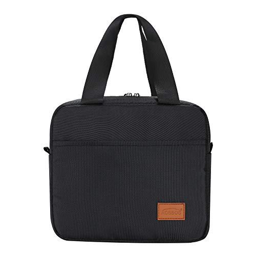 Aosbos kleine Kühltasche Lunch Bag mit Reißverschluss Wasserdicht für Arbeit Schwarz 4L