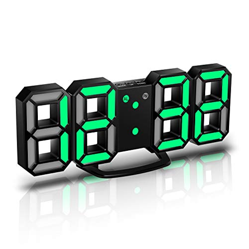 CENTOLLA 3D LED Digital Alarm Clock, Orologio da Parete, Orologio Digitale, Timorn 3D LED Alarm Clock con 3 Livelli di luminosità Regolabile Dimmable Nightlight Snooze Funzione per Home Kitchen Office