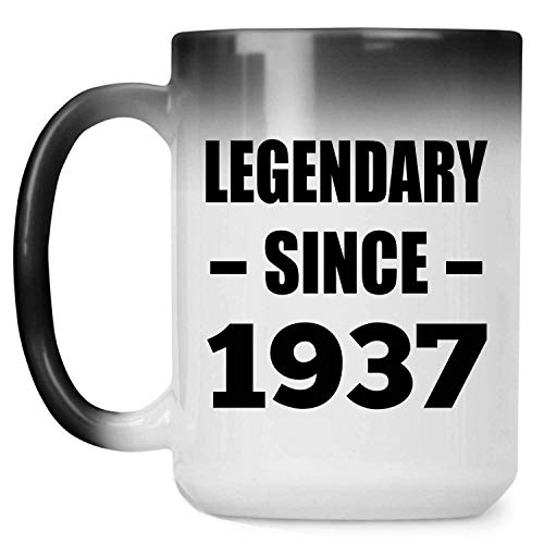 84th Birthday Legendary Since 1937-15oz Color Changing Mug Magic Tea-Cup Heat Sensitive - for Friend Kid Daughter Son Grand-Dad Mom Birthday Anniversary Mother's Father's Day