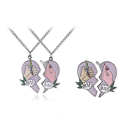 GYINGY Collares de Mujer Colgante de mechero Creativo de Dos pétalos en Forma de corazón Aniversario Cumpleaños Día de la Madre Regalos de joyería para mamá