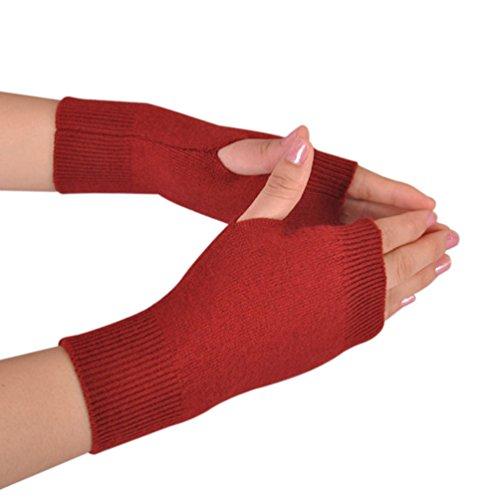Novawo Frauen aus Cashmere Fingerdaumenloch Warm weiche Handschuhe, Dunkelrot, Einheitsgröße