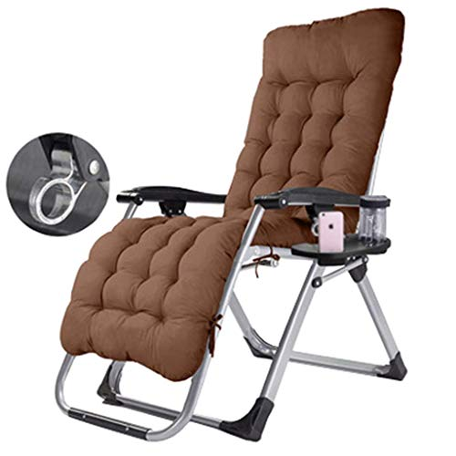 WYJW Deck stoel, ligstoelen, met bekerhouder en hoofdsteun, robuuste tuinstoel, 150 kg capaciteit - bruin