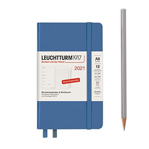 LEUCHTTURM1917 361837 Wochenkalender & Notizbuch 2021 Hardcover Pocket (A6), 12 Monate, Denim, Deutsch