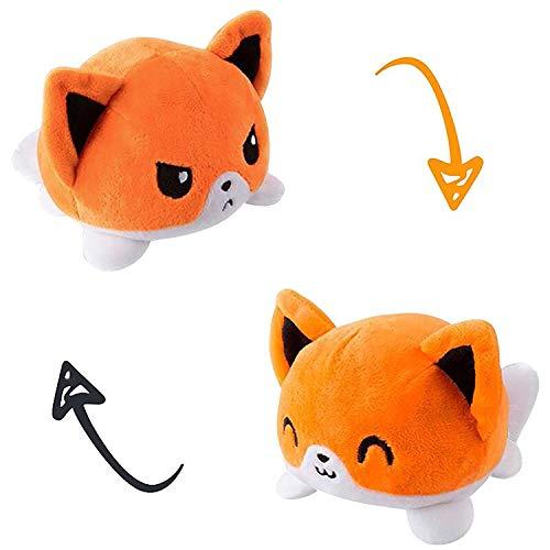 AllBlue Flip Plüschtier   doppelseitiges Design zum wenden   niedliches Geschenk für Kinder   weiches Plüschtier mit wechselbarer Stimmung   einfach Flippen mit 2 Emotionen in Böse & Lieb (Fuchs)