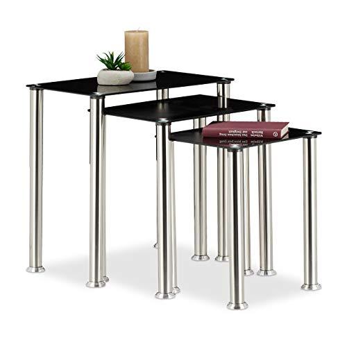 Mesas Auxiliares De Cristal Rectangular mesas auxiliares de cristal  Marca Relaxdays