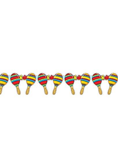 COOLMP – Guirnalda Maracas mexicanas de 3 Metros – Talla única – Decoración Accesorios de Fiesta, animación, cumpleaños, Boda, Evento, Juguete, Globo