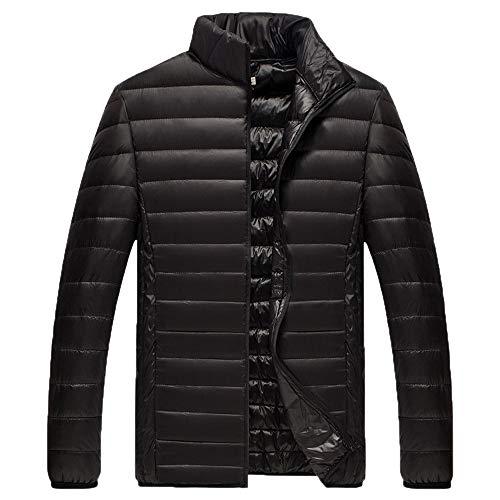 Xmiral Herren Jacke Mantel Winter Pure Color Faltbare Stehkragen Daunenjacke Overcoat (L,Schwarz)