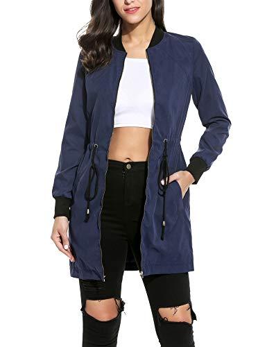 Zeagoo Damen Bomberjacke Bikerjacke Fliegerjacke Kurzjacke Sportwear mit Kordelzug Lange Parka Jacke, Gr-EU 40 (Herstellergröße: XL),...
