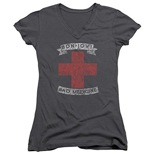 Bon Jovi - Bad Medicine - Juniors V-Neck Cap Sleeve T-Shirt - Large