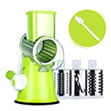 Rotary Cheese Grater Round Mandoline Slicer with 3 Interchangeable Blades, Manual Vegetable Food...