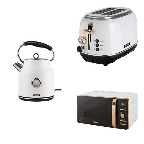 Kitchen TOWER ROSE GOLD & WHITE Electrical Appliance Retro Stylish Set - Tower Bottega Digital Microwave with 2-Slice Toaster and 1.7 Litre Bottega Traditional Quiet Boil Kettle