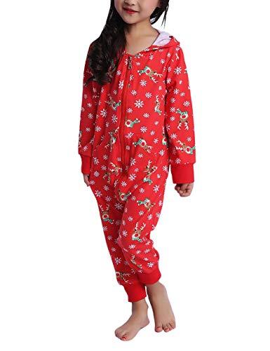 besbomig Divertidos Familia Navidad Impreso Encapuchado Ropa de Casa Pijama de Mono Conjunto para Mujeres, Hombres,...