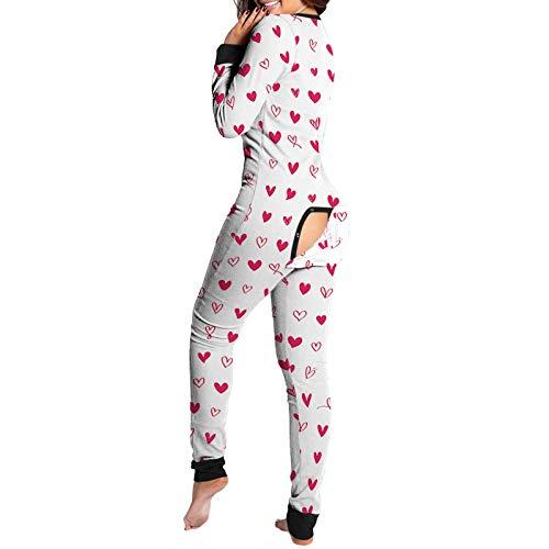 Pijama de una pieza para mujer, con solapa funcional con botones, una pieza de manga larga, mameluco para dormir, 02, S