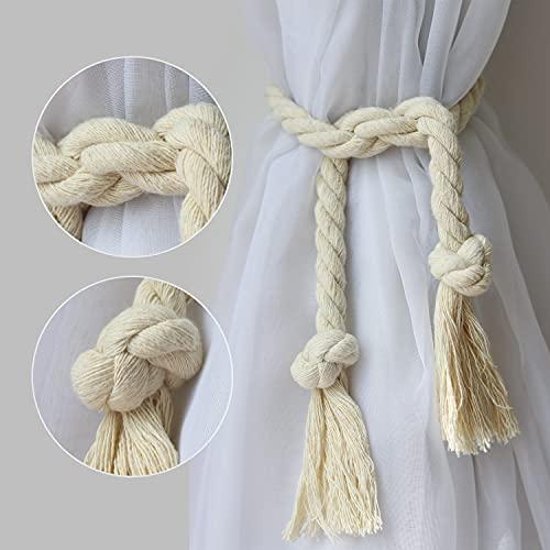 Yteseery Natural Cotton Curtain Tiebacks, DIY Tailorable Long Rope Curtain Holdback, Decorative Curtain Holdbacks for Rural Village Boho Style Drapery Tie-Back, 4M (157 inch) Beige