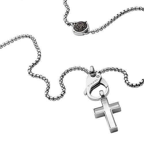 Diesel Herren Halskette Cross Anhänger Edelstahl, DX1252040