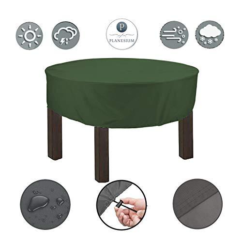 Planesium Premium dekzeil tuintafel rond afdekhoes ronde tafel afdekking beschermhoes garnituur tuinmeubelset scheurvast ademend waterdicht Ø 140cm x 15cm olijfgroen