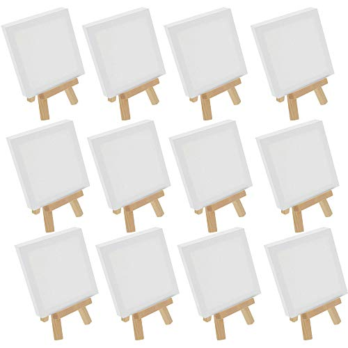 U.S. Art Supply 5' x 5' Stretched Canvas with 8' Mini Natural Wood Display Easel Kit (Pack of 12), Artist Tripod Tabletop Holder Stand - Painting Party, Kids Crafts, Oil Acrylic Paints, Signs, Photos