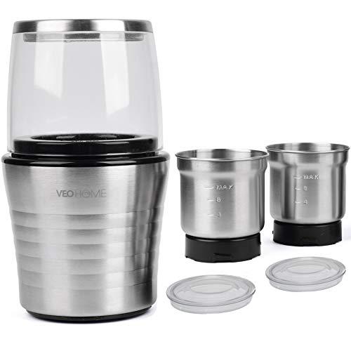 Moulin à café et mixeur électrique VeoHome broyeur pour grains de café, graine de lin et autres épices - inox