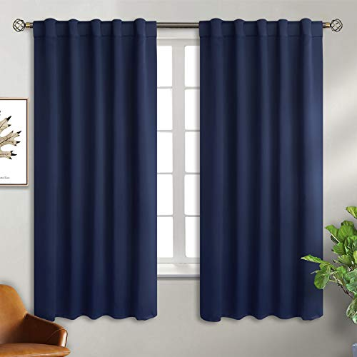 BGment Rod Pocket and Back Tab Blackout Curtains for Bedroom - Thermal Insulated Room Darkening Curtains for Living Room, 2 Window Curtain Panels (42 x 63 Inch, Navy Blue)