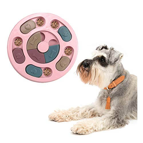 Dog Puzzles Toys Interactive Game Smart Dog Puzzle Toy for Pet Training Puppy Treat Dispenser Dog Slow Feeder Bowl Training Toy (Pink)