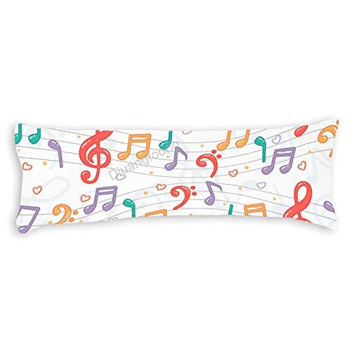 Diuangfoong - Funda de almohada decorativa con notas musicales, 50,8 x 137 cm