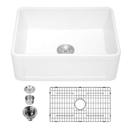 30 Farmhouse Sink White - Sarlai 30 Inch Kitchen Sink Arch Edge Curved Apron Front Ceramic Porcelain Fireclay Single Bowl Farmer Sink