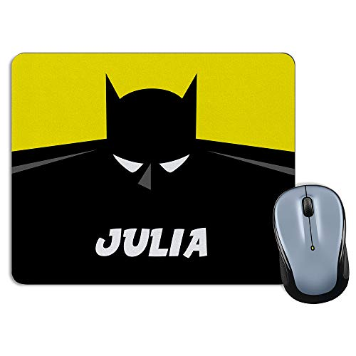 LolaPix Tapis de Souris personnalisé avec nom. Cadeaux personnalisés pour Les Super-héros. Divers modèles 18x22cm Rectangulaire. Batman