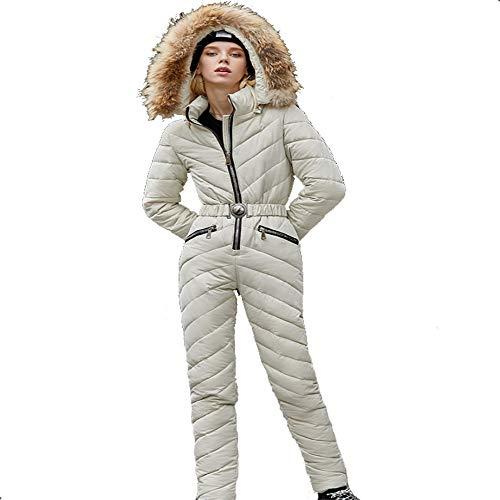 LIET Einteiliger Skianzug Damen Schnee Skijacke + Snowboardhose Damen Wasserdicht Verdicken Set Winter Outdoor Schnee Overall @ Creamy-White_XL