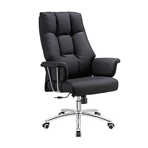 Silla de oficina ergonómica de diseño ergonómico, cojín de esponja minimalista ajustable multifuncional de piel negra