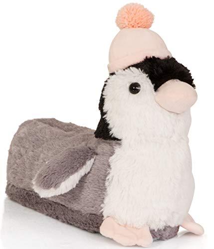 Süße Hausschuhe für Damen, Mädchen, 3D-Hausschuhe, verschiedene Stile, Größen 33 - 38, Pink - Grau-Rosa Pinguin - Größe: 3/4 UK