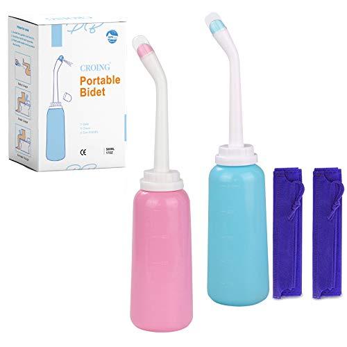 CROING-2 Stk. 500 ml Sitzbad Flasche Tragbares Bidet für Reisen mit Tasche -Peri Bottle für die Nachsorge nach der Geburt - Mutter-Waschmaschine zur perinealen Erholung und Reinigung