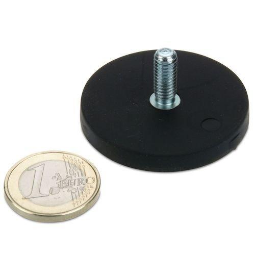 Magnetsystem Ø 43 mm gummiert mit Gewinde M6x15 - hält 10 kg, Gewindezapfen, Außengewinde, starker Halt durch Neodym-Magnete, anschrauben
