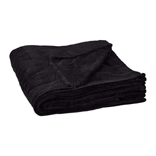 Relaxdays Kuscheldecke extragroß aus Polyester, Fleece, bei 30°C waschbar, HBT: 1 x 200 x 220 cm, schwarz