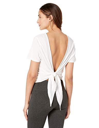 Satva Open Back Tie Up Knot T-Shirt Top Yoga Workout Activewear Mahila Tee, White, Small