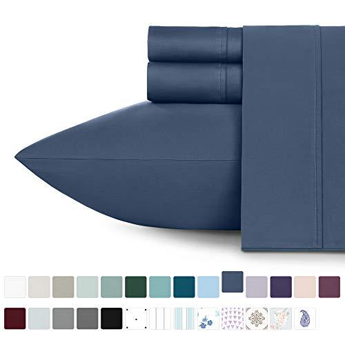 California Design Den 400 Thread Count 100% Cotton Sheet Set, Indigo Batik King Sheets 4 Piece Set, Long-Staple Combed Pure Natural Cotton Bedsheets, Soft & Silky Sateen Weave