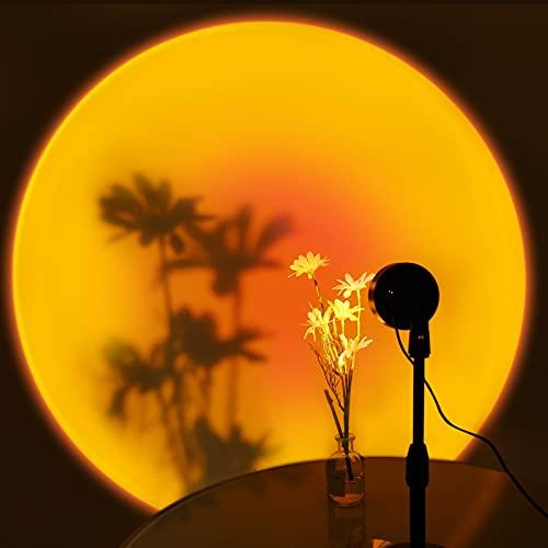 Sunset Projection Lamp, Sunset Lamp, lampada da proiettore USB, proiettore LED, rotazione a 240°, romantica, lampada per l'atmosfera, illuminazione per la camera da letto, decorazione (tramonto rosso)