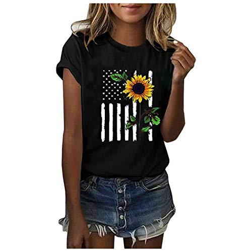 iHENGH Damen Top Bluse Bequem Lässig Mode T-Shirt Frühling Sommer Blusen Frauen Mädchen Plus Size Print Tees Shirt Kurzarm Tops(Schwarz, S)