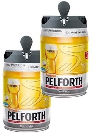 Les5CAVES - Pack 2 fûts Pelforth - Fût de bière blonde - Compatible Beertender - Lot de 2 fûts x 5L