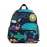 Mini sac à dos d'école, sac à livres pour garçons et filles, motif vie marine, gros poissons, baleine, requin, épée